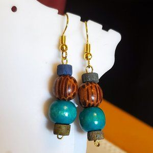 Gold Tone Hook Seed and Wood Bead Dangle Earrings